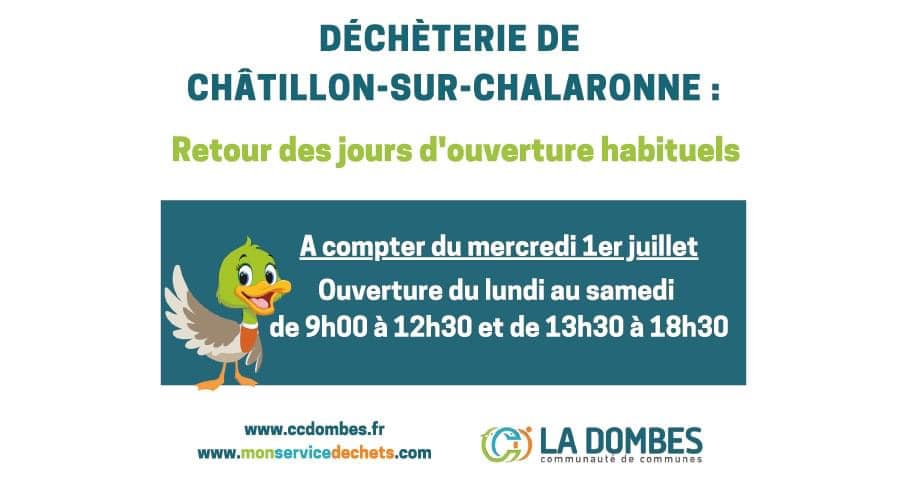 Reprise des horaires d'ouverture de la déchèterie de Chatillon-sur-Chalaronne
