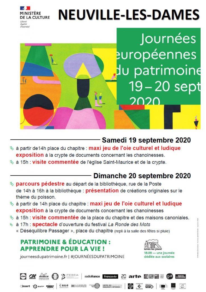 Programme des Journées européennes du patrimoine à Neuville-les-Dames